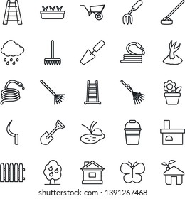 Thin Line Icon Set - flower in pot vector, trowel, garden fork, shovel, fence, rake, ladder, wheelbarrow, bucket, sproute, butterfly, house, seedling, rain, hose, hoe, sickle, fireplace, pond, eco