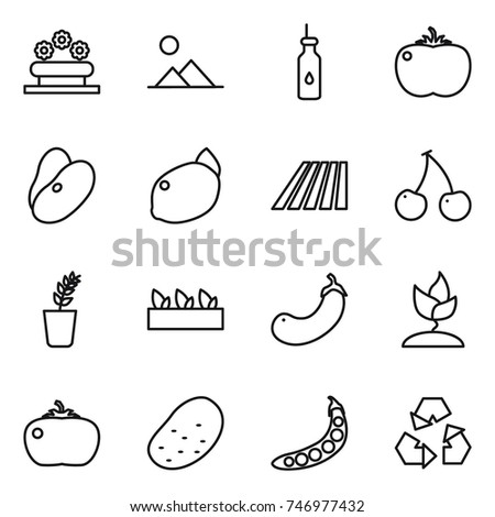 Thin Line Icon Set Flower Bed Stock Vector Royalty Free 746977432
