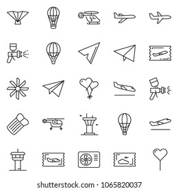 thin line icon set - fly ticket vector, paper plane, airbrush, air condition, ventilation, balloon, airport tower, departure, arrival, medical helicopter, deltaplane, inflatable mattress, heart