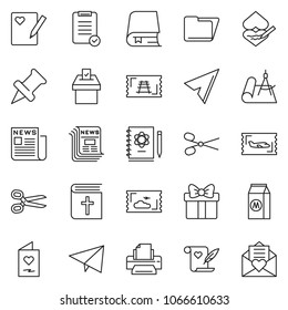 thin line icon set - folder vector, printer, newspaper, check list, scissors, paper plane, milk, holy bible, vote, draw, ticket, train, logbook, book, drawing pin, gift, love note