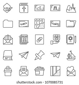 thin line icon set - folder vector, manager yacht, fly ticket, newspaper, paper plane, wallpaper, nuggets bucket, holy bible, vote, draw, train, logbook, book, drawing pin, opened mail, attachment