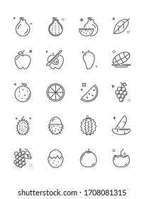 Dünne Linien-Icon-Set mit frischen Früchten, 64x64 Pixel perfekt Symbol, bearbeitbares Symbol für Webdesign und Anwendung auf weißem, isoliertem Hintergrund