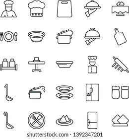Thin Line Icon Set - fridge vector, cook, restaurant table, serviette, cafe, hat, plates, waiter, salt and pepper, ladle, bowl, rolling pin, cutting board, steaming pan
