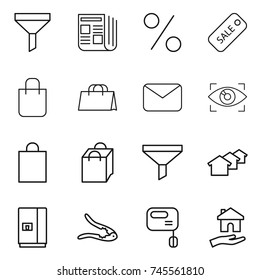 thin line icon set : funnel, newspaper, percent, sale, shopping bag, mail, eye identity, houses, fridge, walnut crack, mixer, housing