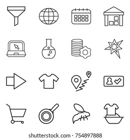 thin line icon set : funnel, globe, calendar, warehouse, notebook, round flask, virtual mining, bang, right arrow, t shirt, route, check in, cart, pan, wasp, handle washing