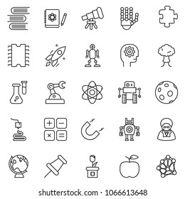 thin line icon set - gear head vector, robot hand, telescope, atom, flask, logbook, rocket, magnet, globe, moon, 3d printer, calculator, manufacture, cpu chip, plant, puzzle, bang, scientist, book