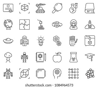 thin line icon set - gear head vector, robot hand, neural network, flask, logbook, rocket, bulb, nuclear, globe, graduate hat, 3d printer, manufacture, cpu chip, circuit, puzzle, bang, magnifier