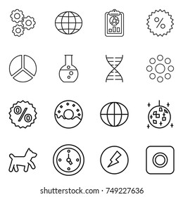 thin line icon set : gear, globe, report, percent, diagram, round flask, dna, around, donut, disco ball, dog, watch, electricity, ring button