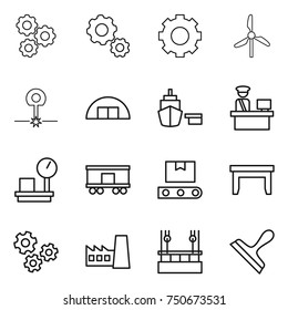 thin line icon set : gear, windmill, laser, hangare, port, customs control, warehouse scales, railroad shipping, transporter tape, table, gears, factory, skysrcapers cleaning, scraper