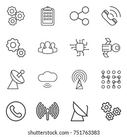 thin line icon set : gear, clipboard, share, call, group, chip, satellite, antenna, cloud wireless, phone, gears