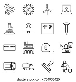 thin line icon set : gear, sun power, windmill, nuclear, microscope, laser, tools, nail, bunker, factory, measuring tape, architector, microwave oven, sweeper, scraper, garbage bin