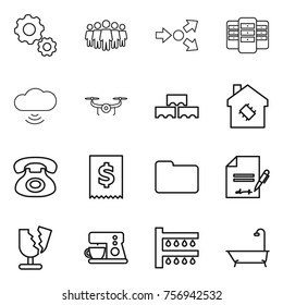 Thin line icon set : gear, team, core splitting, server, cloud wireless, drone, block wall, smart house, phone, tax, documents, inventory, broken, coffee maker, watering, bath