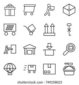 thin line icon set : gift, delivery, courier, box, trolley, cargo top sign, do not hook, warehouse, package, search, parachute, fast deliver, washing powder