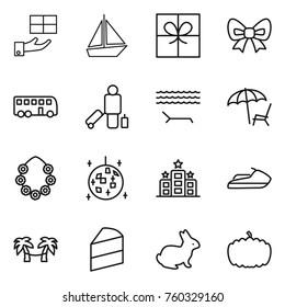 Thin line icon set : gift, boat, bow, bus, passenger, lounger, hawaiian wreath, disco ball, hotel, jet ski, palm hammock, cake, rabbit, pumpkin