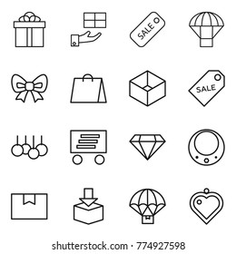 Thin line icon set : gift, sale, parachute, bow, shopping bag, box, label, delivery, diamond, necklace, package, heart pendant