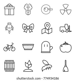 Thin line icon set : gift, bulb brain, cell corection, nuclear, jet robot, bow, map, fork loader, bike, colander, cook glove, tomato, barrel, sprouting, wasp, broom