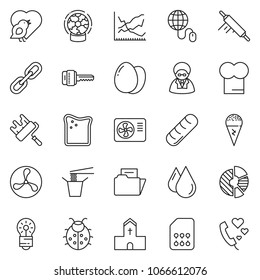 thin line icon set - globe mouse vector, circle chart, line, paint roller, air condition, egg, ice cream, cheese toast, Chinese food, chief hat, rolling pin, bread, lady bug, church, bird, fan, bulb