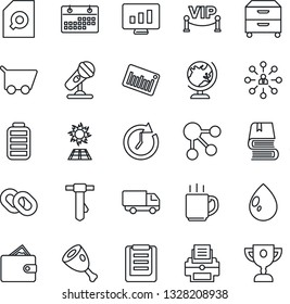 Thin Line Icon Set - globe vector, hierarchy, tie, statistic monitor, water drop, car delivery, clipboard, barcode, microphone, chain, battery, calendar, coffee, document search, printer, book, ham