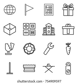 thin line icon set : globe, flag, abacus, gift, box, calculator, building, hi quality package, broken, lifebuoy, wrench, carrot, rake, sponge, iron board, do not distrub