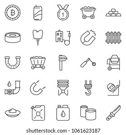 thin line icon set - gold vector, bitcoin sign, concrete mixer, winch, welding machine, canned food, soda, horseshoe, mine trolley, oil pipeline, canister, magnet, pipes, calipers, radiator, implant