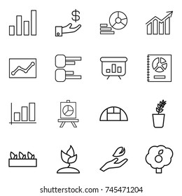 thin line icon set : graph, investment, diagram, statistics, presentation, annual report, greenhouse, seedling, sprouting, hand leaf, garden