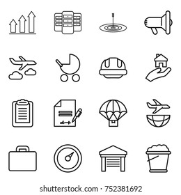 thin line icon set : graph up, server, target, megafon, journey, baby stroller, building helmet, real estate, clipboard, inventory, parachute delivery, plane shipping, suitcase, barometer, garage