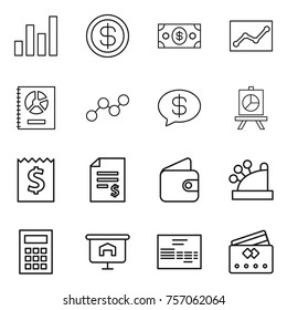 Thin line icon set : graph, dollar, money, statistics, annual report, message, presentation, receipt, account balance, wallet, cashbox, calculator, invoice, credit card