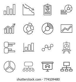 Thin line icon set : graph, crisis, report, diagram, circle, statistics, presentation, structure, hierarchy