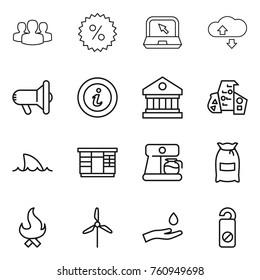 Thin line icon set : group, percent, notebook, cloude service, megafon, info, library, modern architecture, shark flipper, wardrobe, coffee maker, flour, fire, windmill, hand and drop
