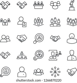 Thin Line Icon Set - handshake vector, hierarchy, pedestal, team, patient, group, user, hr, meeting, company, client search, consumer