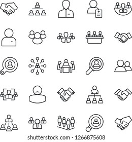 Thin Line Icon Set - handshake vector, hierarchy, team, patient, group, user, company, hr, meeting, client search, consumer
