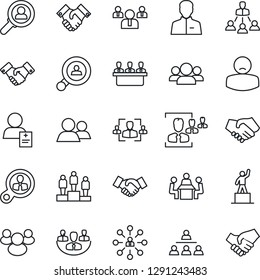 Thin Line Icon Set - handshake vector, hierarchy, pedestal, team, patient, group, user, company, hr, meeting, client search, consumer