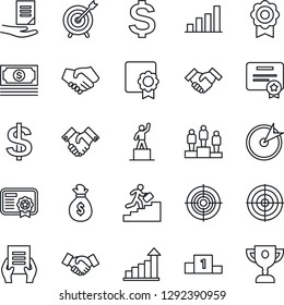 Thin Line Icon Set - handshake vector, growth statistic, dollar sign, pedestal, document, cash, sertificate, bar graph, target, career ladder, money bag, certificate, award cup