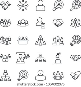 Thin Line Icon Set - handshake vector, hierarchy, pedestal, team, patient, user, company, hr, meeting, client search, consumer, group
