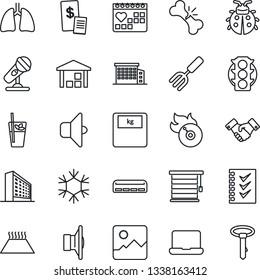 Thin Line Icon Set - handshake vector, office building, garden fork, lady bug, scales, lungs, broken bone, medical calendar, traffic light, warehouse, flame disk, microphone, speaker, gallery, sound