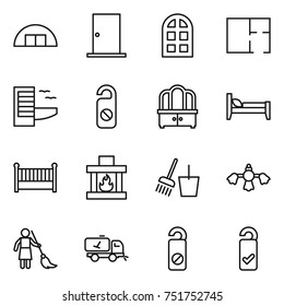 thin line icon set : hangare, door, arch window, plan, hotel, do not distrub, dresser, bed, crib, fireplace, bucket and broom, hard reach place cleaning, brooming, home call, please clean
