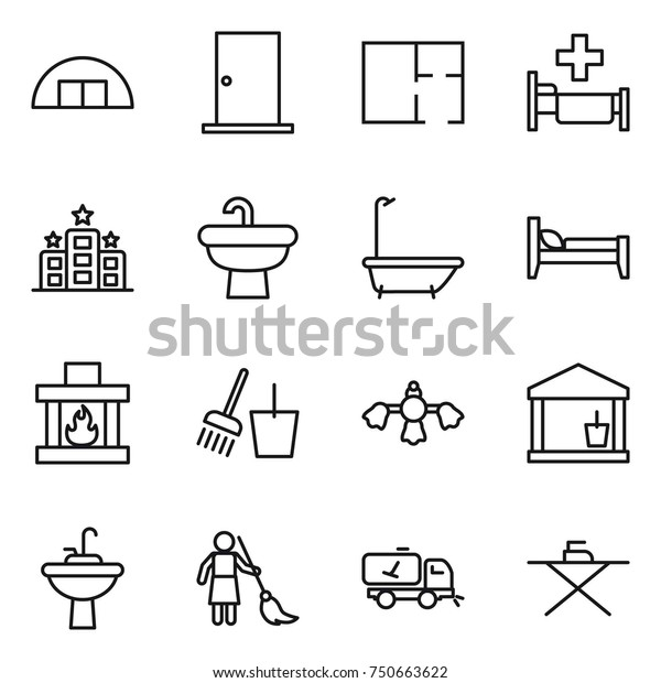 Thin Line Icon Set Hangare Door Stock Vector (Royalty Free