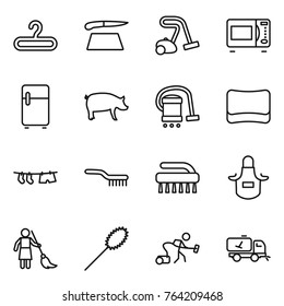 Thin line icon set : hanger, cutting board, vacuum cleaner, microwave oven, fridge, pig, sponge, drying clothe, brush, apron, brooming, duster, home call cleaning
