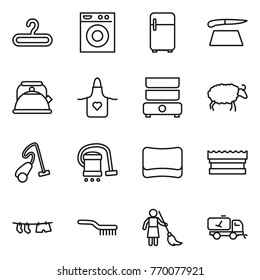 Thin line icon set : hanger, washing machine, fridge, cutting board, kettle, apron, double boiler, sheep, vacuum cleaner, sponge, drying clothe, brush, brooming, home call cleaning