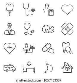 thin line icon set - heart pulse vector, ambulance car, diagnosis, doctor, stethoscope, hospital bed, medical patch, implant, tooth, stomach, pills, love home
