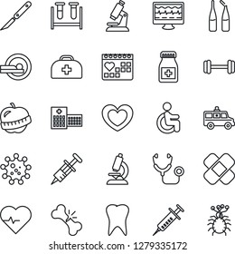 Thin Line Icon Set - heart vector, pulse, monitor, doctor case, stethoscope, syringe, blood test vial, microscope, pills bottle, ampoule, scalpel, patch, tomography, ambulance car, barbell, disabled
