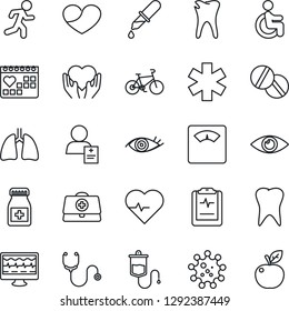 Thin Line Icon Set - heart pulse vector, monitor, doctor case, stethoscope, dropper, scales, pills, bottle, ambulance star, bike, run, disabled, hand, lungs, tooth, caries, eye, medical calendar
