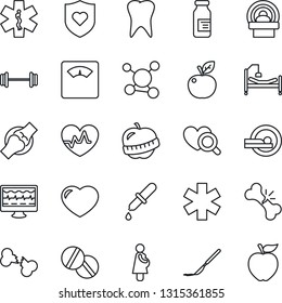 Thin Line Icon Set - heart pulse vector, monitor, dropper, diagnostic, scales, pills, ampoule, scalpel, tomography, ambulance star, barbell, shield, hospital bed, tooth, joint, broken bone, diet