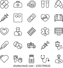 Thin Line Icon Set - heart vector, pulse, monitor, doctor case, stethoscope, syringe, blood pressure, test vial, dropper, thermometer, scales, pills, bottle, blister, patch, tomography, car