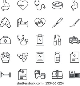 Thin Line Icon Set - heart pulse vector, doctor case, diagnosis, stethoscope, blood pressure, pills, ampoule, scalpel, tomography, ambulance car, hospital bed, stomach, clipboard
