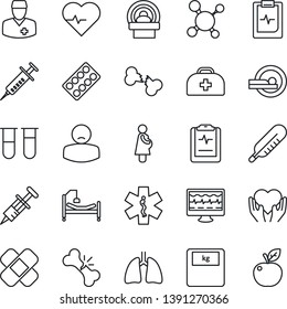 Thin Line Icon Set - heart pulse vector, monitor, doctor case, molecule, syringe, blood test vial, thermometer, scales, pills blister, patch, tomography, ambulance star, hospital bed, hand, lungs