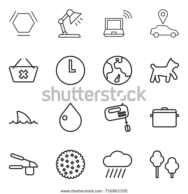 Thin Line Icon Set Hex Molecule Stock Vector (Royalty Free