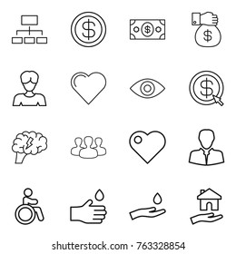 Thin line icon set : hierarchy, dollar, money, gift, woman, heart, eye, arrow, brain, group, client, invalid, hand drop, and, housing