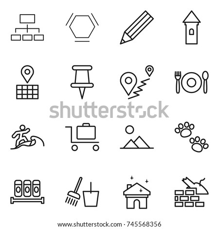 Thin Line Icon Set Hierarchy Hex Stock Vector Royalty Free
