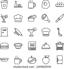 Thin Line Icon Set - hot cup vector, coffee, diet, dish, alcohol, cook hat, menu, cocktail, bread, vip zone, alcove, ham, hamburger, ladle, bowl, rolling pin, knife, steaming pan, omelette, fridge